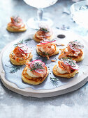Spelt Blini with Hot Smoked Salmon and Creme Fraiche