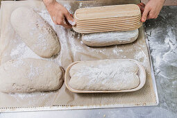 Brown bread being made: dough being knocked out of raising baskets onto a tray