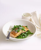 Babecued salmon with minted peas and beans