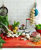 Ingredients and tools for recipes with mince