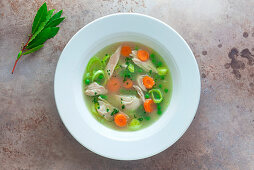 A bowl of chicken soup with vegetables