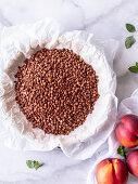 Blind baking - pulses filling a tart tin