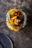 Pickled mussels in a jar