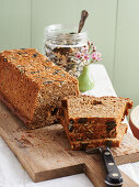 Homemade brown bread with a seed mix