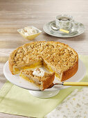 Yellow plum crumble cake