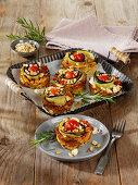 Cauliflower pizza muffins with feta cheese