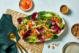 Roast carrot and mandarin chicken salad