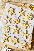 Shortbread star cookies with sugar decorations