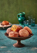 Apple fritters with granulated sugar