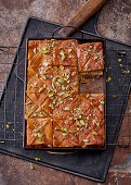 Apple baklava on a baking tray