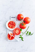Cut and Seeded tomatoes