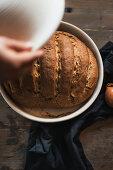 Onion bread baked in a pot