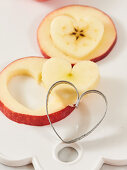 Cut out apple hearts