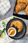 sesame croissants with mango jam