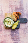 Avocado cream cheese with hemp nuts
