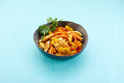Chicken curry with carrots and turmeric