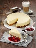 New York cheesecake with cherry sauce