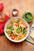 Minestrone with shell pasta and pesto