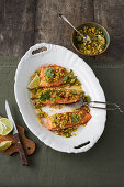 Salmon with pineapple-walnut salsa