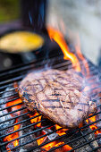Beef steak on a grill