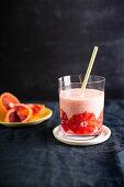 Blood orange smoothie in a glass