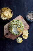 Cheese ball with sesame and wasabi