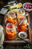Winter tea with rosemary and raspberries
