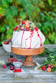 Berry pavlova in a garden