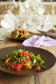 Thai fish and vegetables stir fry