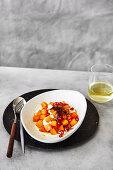 Persimmon salad with sesame-tofu dressing