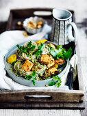 Zucchini, Tofu and Noodles with Coriander Pesto