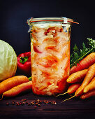 Pickled white cabbage, carrots and peppers