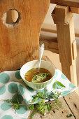 Wild herb dumpling soup