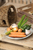 Fresh vegetables – onions, courgette and carrots