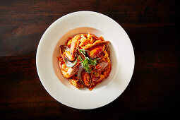 Pasta pescatore (pasta with seafood)