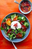 Watercress salad with cucumber, mozzarella and blood oranges