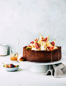Pumpkin cheesecake with figs and caramel