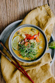Thai Chicken Soup with Bell Pepper and Mushrooms