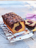 Box cake with chocolate and cherry filling