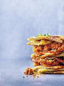 Cheesy Spring Onion Waffles With Fried Chicken