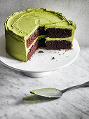 Choc Layer Cake with Matcha Frosting
