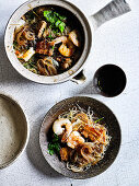 Clay Pot Glass Noodles with Pork and Prawns
