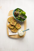 Chickpea pancakes with mixed salad