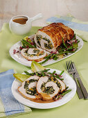 Stuffed turkey roll with green beans