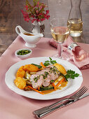 Roast veal with gremolata, roasted vegetables and dauphines potato