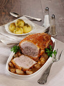 Bavarian roast with a stuffing in a shallot and pepper sauce