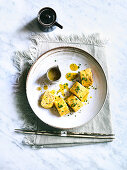 Japanese Egg Omelet Squares with Mustard Sauce