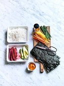 Ingredients for Japenese Hand Rolls Temaki
