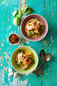 Thai masaman curry with potatoes and prawns