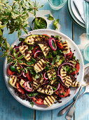 Griddled Ratatouille Style Salad with Halloumi